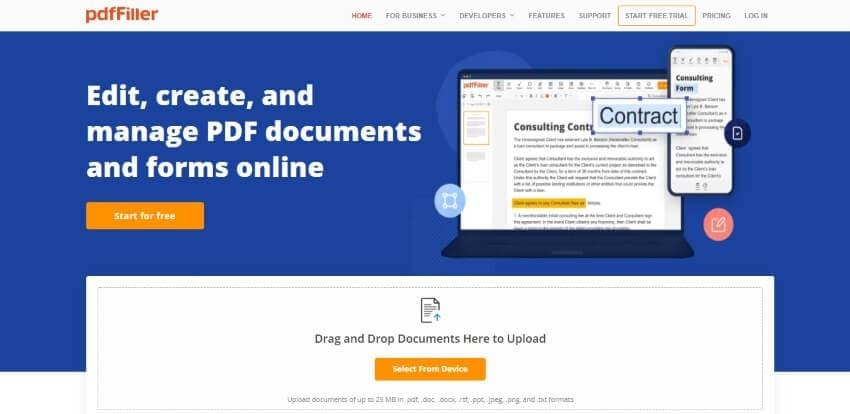 pdffiller online interface