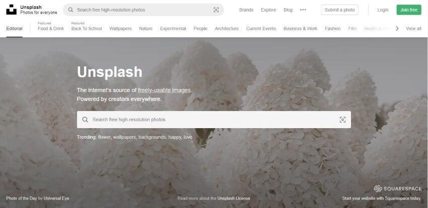 unsplash interface