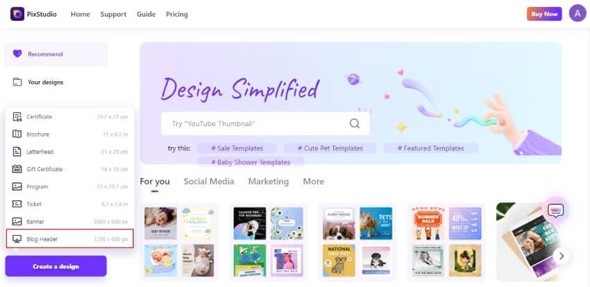 select blog header aspect ratio