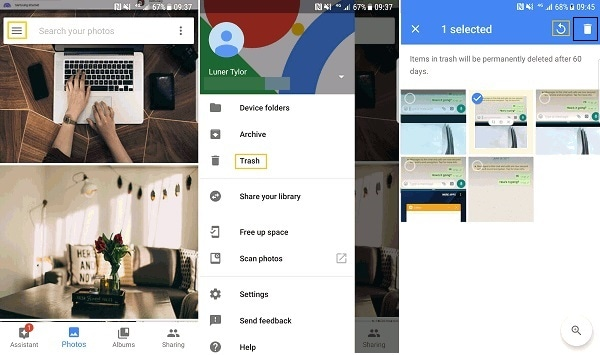 tap the trash option on android phone to free up space