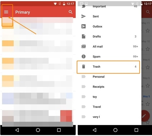 visit the gmail trash folder to delete unwanted trash