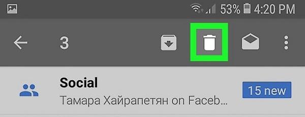 tap the delete icon