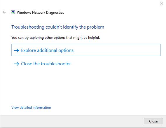 no se puede conectar a Internet en Windows 10 pasos