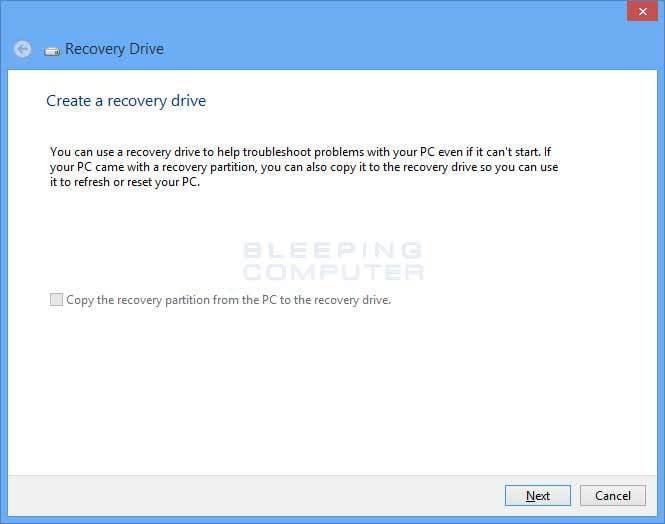 USB-Wiederherstellungslaufwerk erstellen Schritt 1