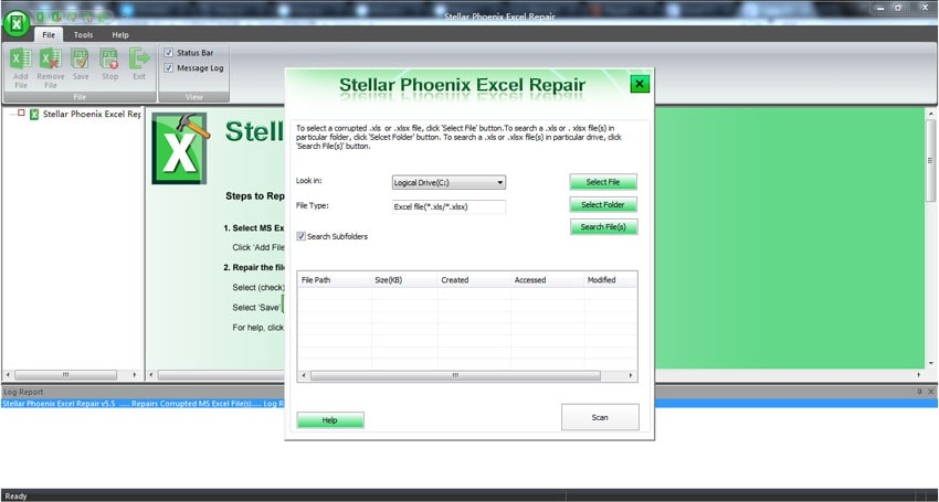 repair corrupt Excel file with repair tool step 1