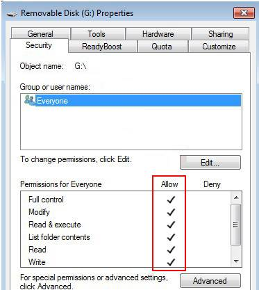 remove write protection from read only usb flash drive by checking the permissions