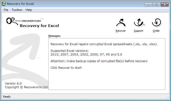 recovery for Excel
