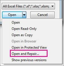 repair corrupted Excel workbook