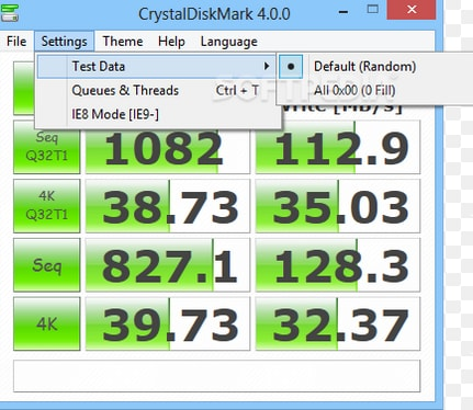 Test Hard Disk speed with CrystalDiskMark