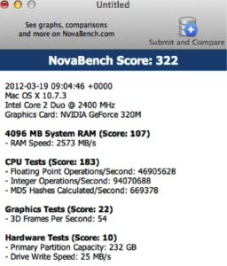 NovaBench Score for Mac Hard Drive Test-3