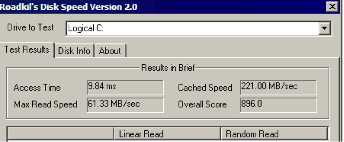 Test Hard Disk speed - RoadKil Speed test-1