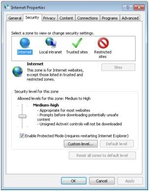 Change Internet Security  to Resolve the Not a valid Win32 application problem
