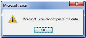 excel file cannot paste the data error