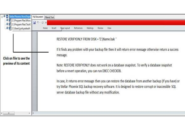 MS Word-Dateien reparieren - Schritt 3