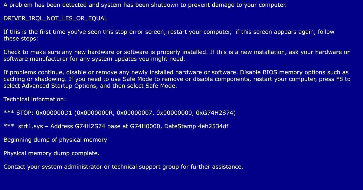 Wie sehen Blue-Screen-Fehlerstoppcodes aus?