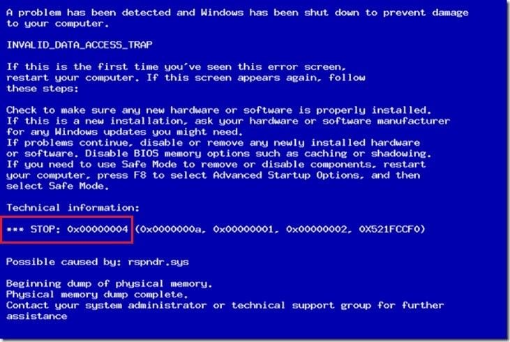 What is Blue Screen Error 0x00000004