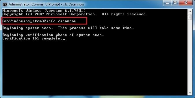 System Fix through scannow command to fix Blue Screen Error 0x00000004