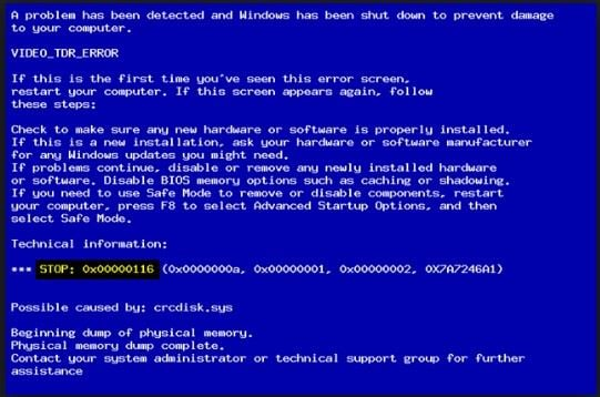 What is the blue screen of death 0x00000116
