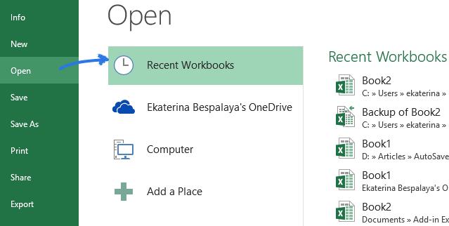 Récupération des fichiers Excel étape 1