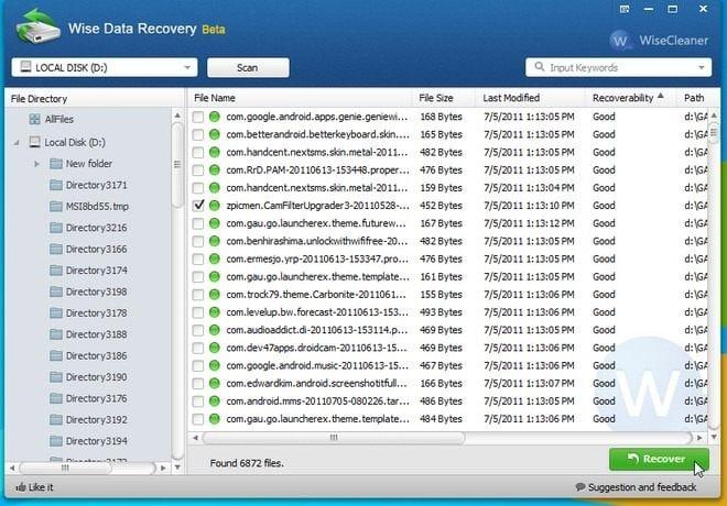 SD-Karten-Datenrettungssoftware – Wise Data Recovery