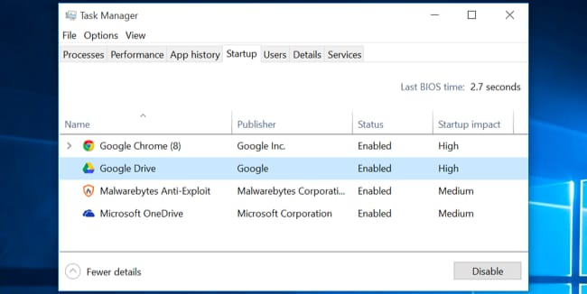 disable startup program to fix computer running slow issue