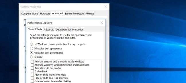 hohe CPU-Auslastung in Windows beheben - laufende Animationen reduzieren