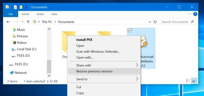 resotre files from file explorer