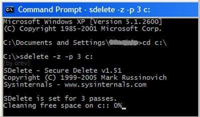 Using SDelete to permanently erase files