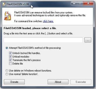 Use FileASSASIN to force delete a folder