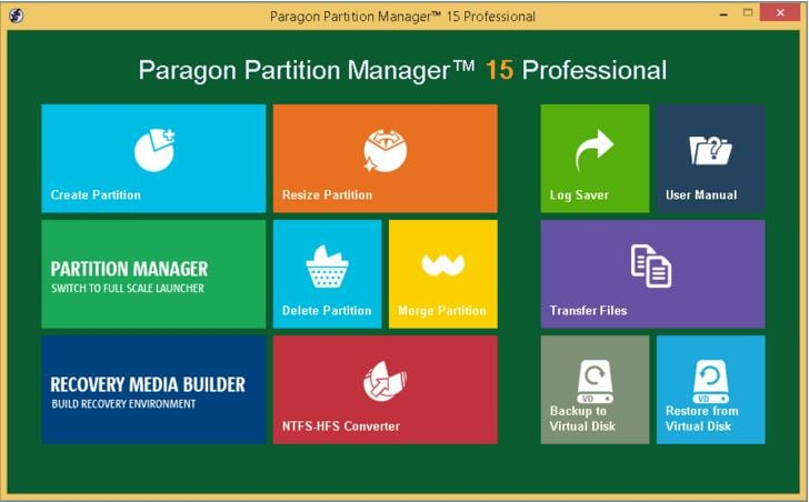 resize partition with Paragon Partition Master step 1
