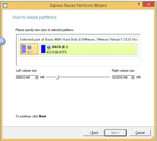 resize partition with Paragon Partition Master step 2
