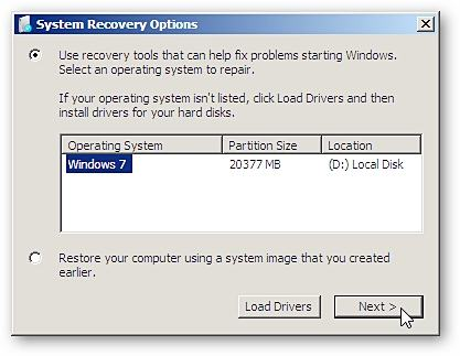 windows recovery options for command prompt backup