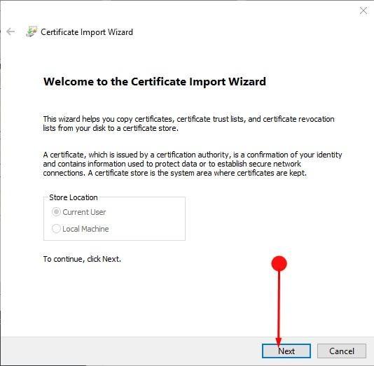 Assistente de Importação de Certificados