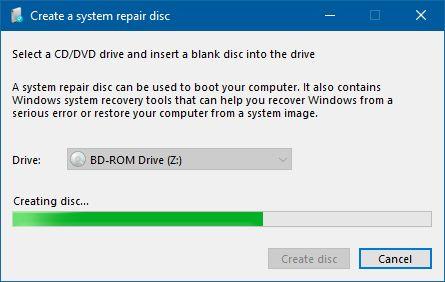 create a system repair disc in window 7