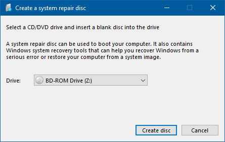 create a system repair disc in windows