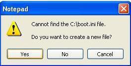 falta el archivo boot.ini