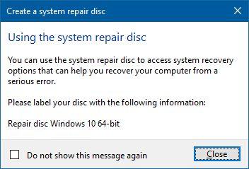 create system repair disc in windows
