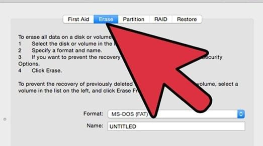 select erase option to format external hard drive on mac