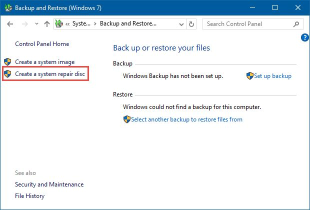 how to create system repair disc in window