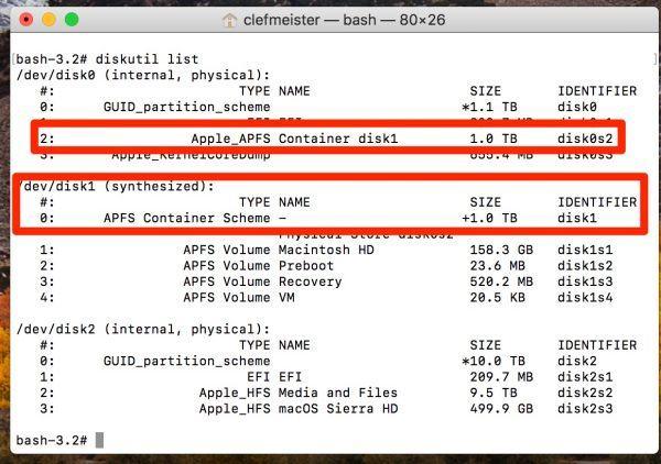 Redimensionner un conteneur APFS sur MacOS High Sierra-capture d'écran