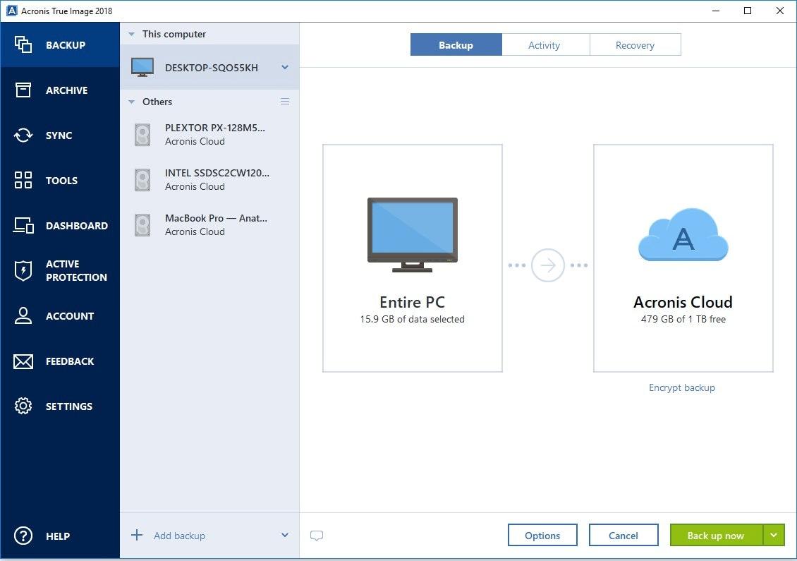 Windows-Backup-Software 2018 - Acronis True Image