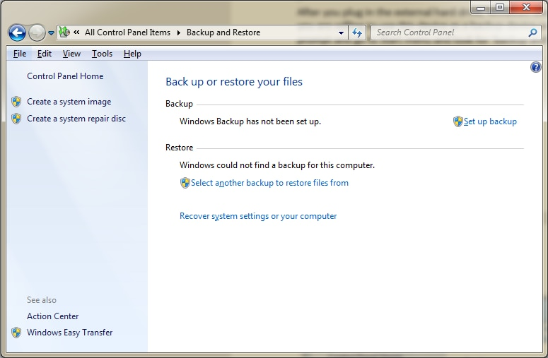 backup windows computer to external hard drive