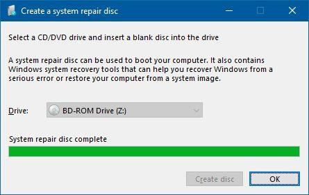 create system repair disc in window 7