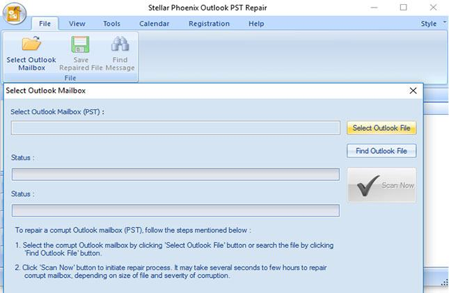 repair outlook pst files step 1