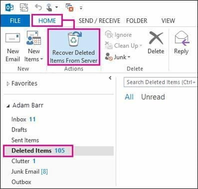 recover deleted tasks in outlook step 2