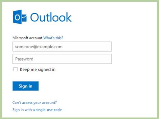 reset lost outlook password