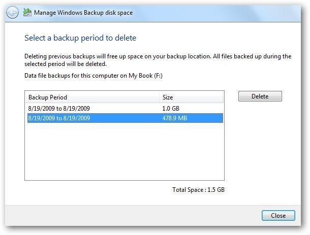 Windows-Backup-Größe verwalten