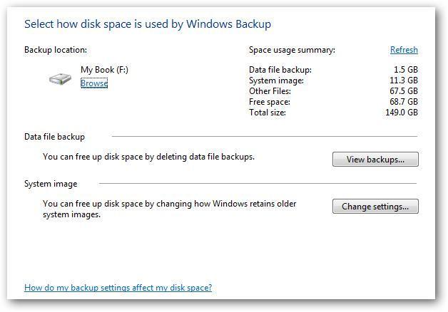 Backupgröße unter Windows 7 verwalten