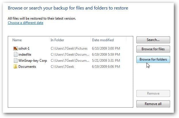 Wiederherstellung unter Windows 7