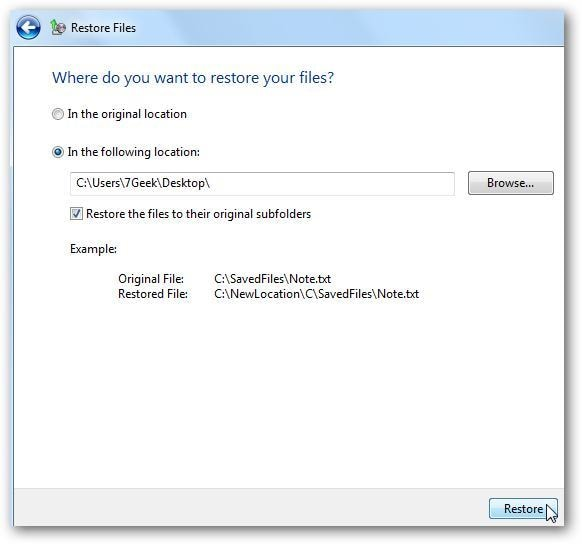 Wiederherstellen von Windows-Dateien aus dem Backup